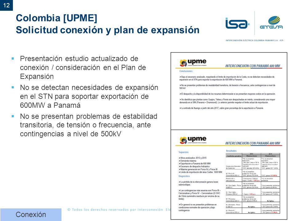 Colombia [UPME] Solicitud conexión y plan de expansión